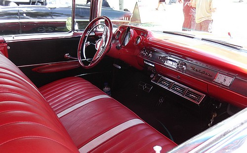 Red interior of the '57 Chev