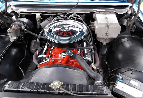 The mighty Chevy 327 V8 in the Monaro