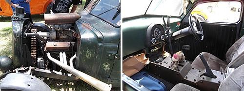 Engine and interior of ratrod