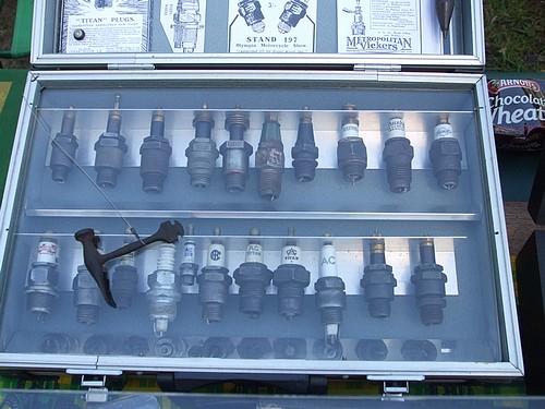 Vintage sparkplugs display