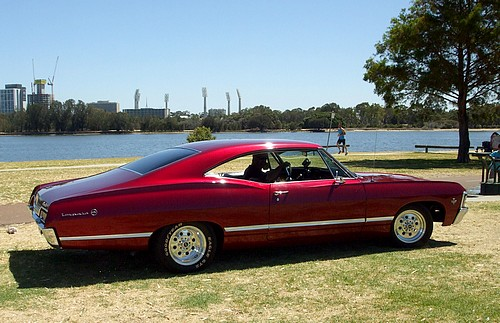 Chevy Impala Coupe red