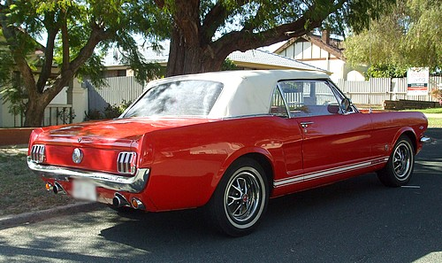Red 1965 Ford Mustang Convertible