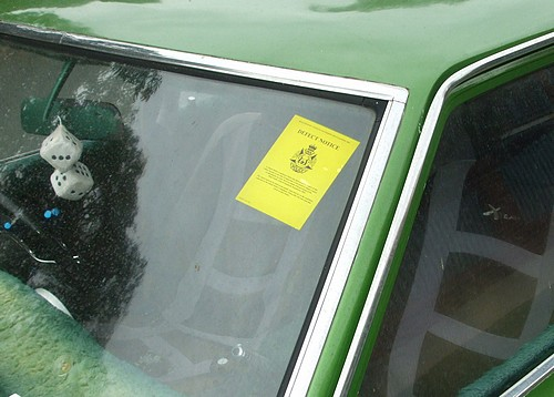 Yellow sticker from the WA Police on the 1976 Corona