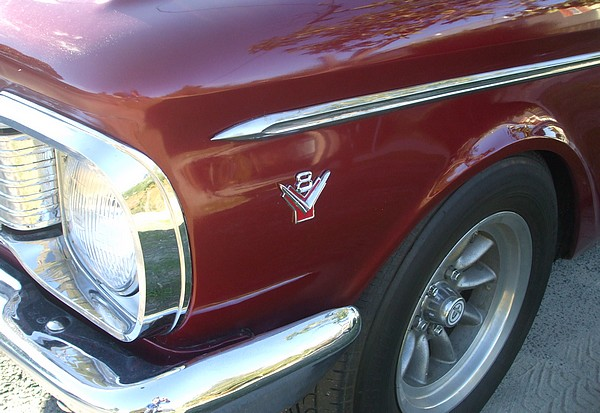 V8 badge on red XP Falcon with 302 V8
