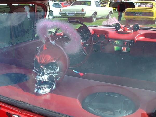 Skull in 1959 Chevy El Camino Ute