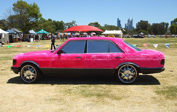 Mercedes covered in pink fur