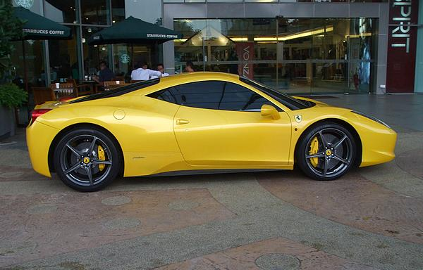 Yellow Ferrari 458 parked outside Tropicana City Mall