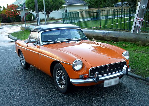 Orange MGB Mk II with Overdrive