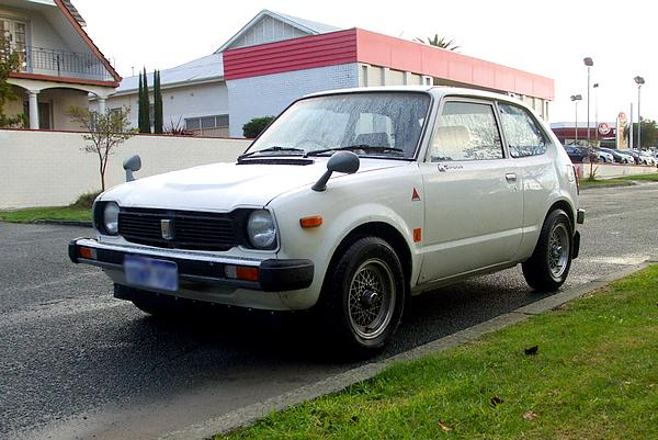 White Honda Civic from the 1970's
