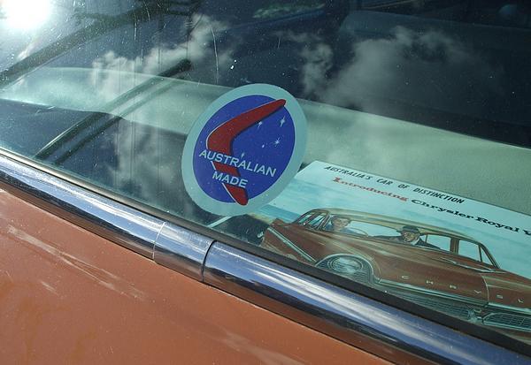 1960 Chrysler Royal made in Australia sticker