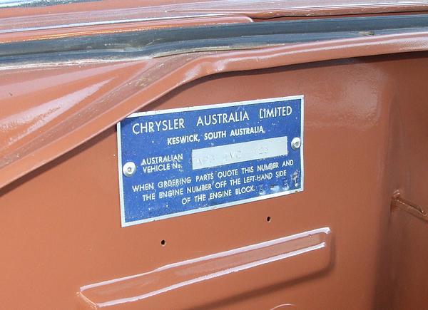 1960 Chrysler Royal compliance plate