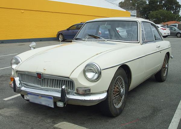 White MGB GT hardtop