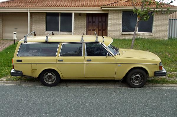 Yellow Volvo 245GL Wagon