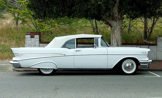 White 1957 Chevrolet Convertible