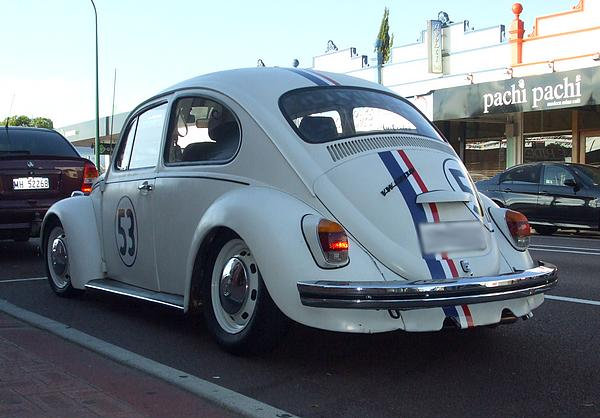 White VW Beetle 1300 with number 53