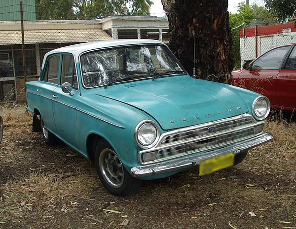 Light blue Ford Cortina Mk 1