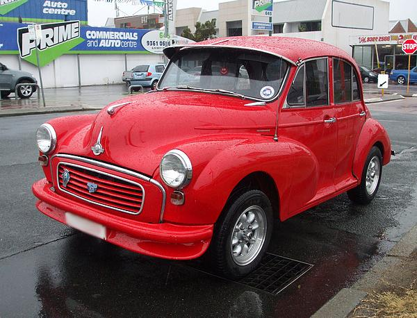 Bright red 1959 Morris Minor 1000