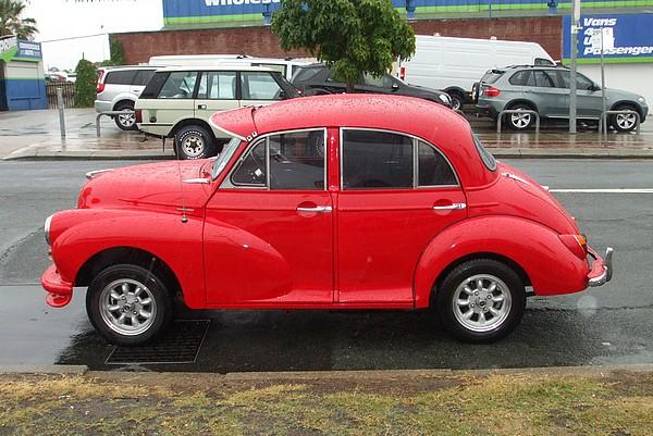 Bright red 1959 Morris Minor 1000