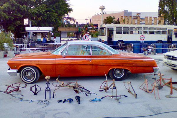 Orange 1962 Chev Bel Air Sport Coupe Bubble Top